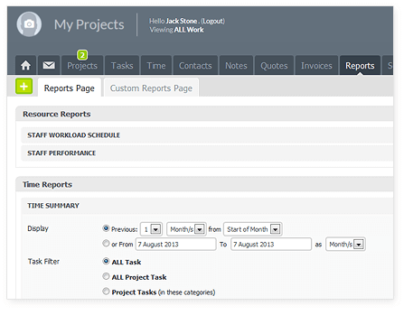 proworkflow reports page